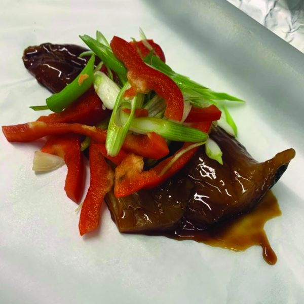 Seabass with Sweet Peppers Spring Onions and Teriyaki Sauce