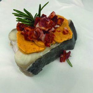 halibut with chorizo