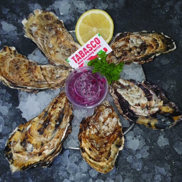 Carlingford Oysters (6) with Red Wine Vinaigrette and Lemon Wedge